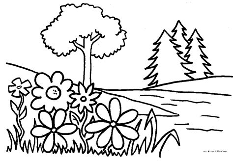 Free Coloring Pages Of Trees And Flowers | plant coloring az coloring pages