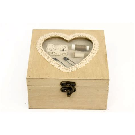 beautiful small antique heart shabby chic vintage style wooden sewing box gift ebay