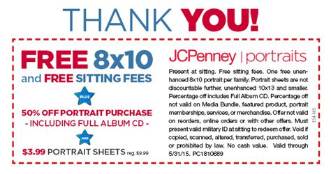 jcpenney portrait printable coupons no sitting fee hot jcpenney free 8 x 10 portrait and free sitting fees