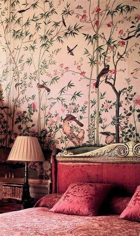 tapetenmuster schlafzimmer rosa wandfarben englische tapetenmuster schlafzimmer