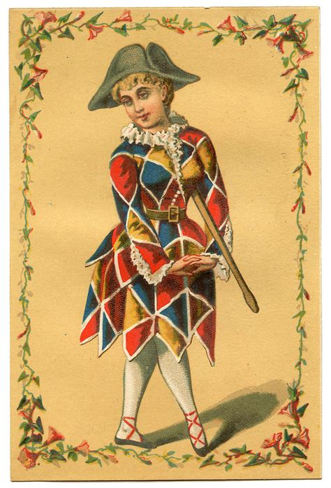 vintage image harlequin clown mardi gras the