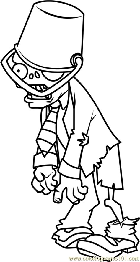 Buckethead Zombie Coloring Page - Free Plants vs. Zombies