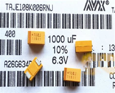 types of capacitors smd free shipping smd tantalum capacitors 6v 1000uf 6 3ve type 7343 108j avx capacitor yellow bile