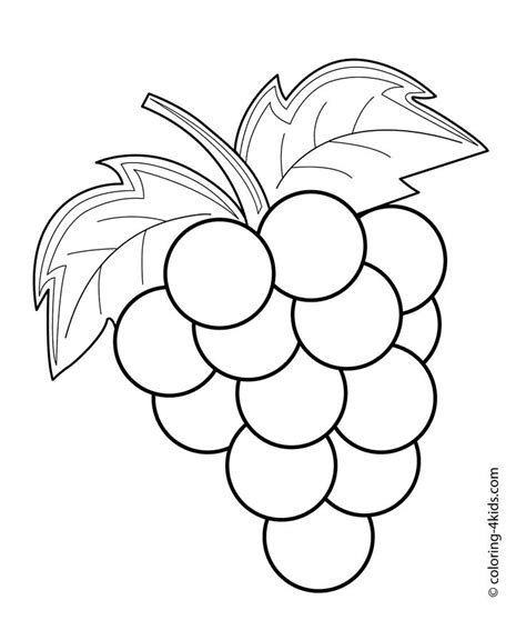 grapes fruits and berries coloring pages for kids