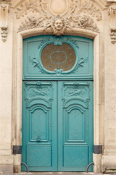 door photography architecture print turquoise blue wall decor