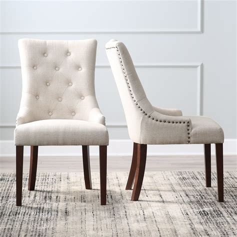 white fabric dining room chairs belham living tufted tweed dining chairs set of 2