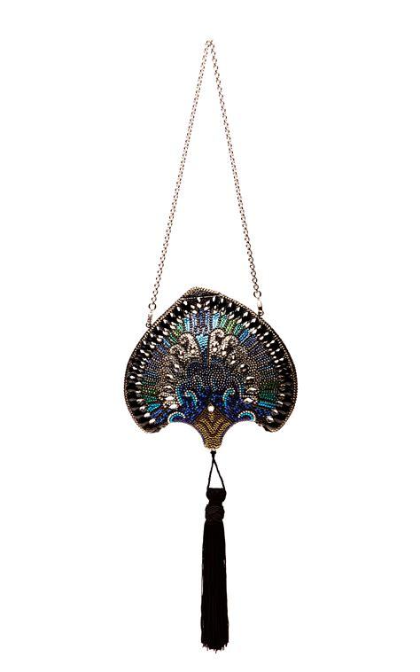 Guccis Necklace For Fans Of Flipper by Judith Leiber Khazana Punkah Fan Evening Bag In Blue Lyst