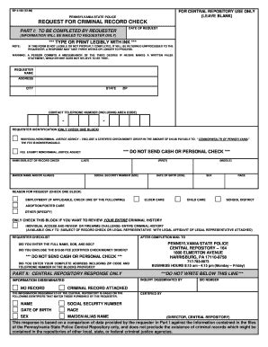 Pennsylvania Request For Criminal Record Check Background Check Form Forms And Templates Fillable Forms Sles For Pdf Word