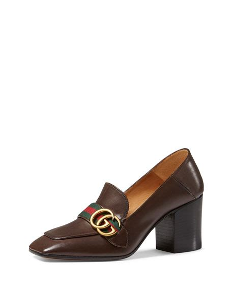 mid heel loafer gucci peyton leather mid heel loafer brown