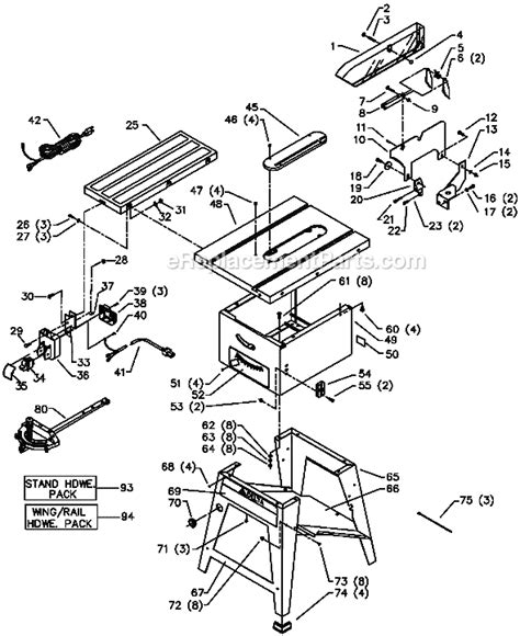 delta bench saw parts delta 36 430 parts list and diagram type 1