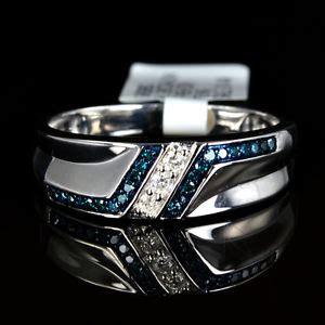 mens white 14k gold gp genuine real blue ring