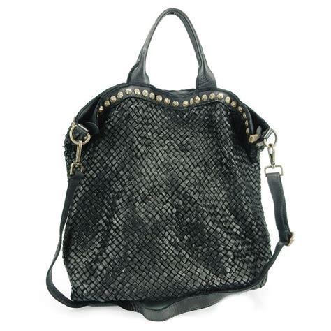 Braided Leather Bag - braided leather handbag with studs