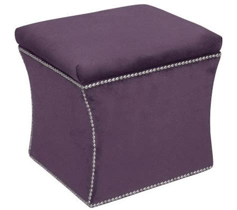Velvet Storage Ottoman Skyline Furniture Nail Button Velvet Storage Ottoman Qvc