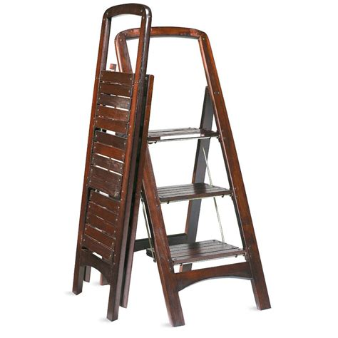 Closet Step Ladder by Fold Flat Mahogany Finished Wooden Stepladder The Green