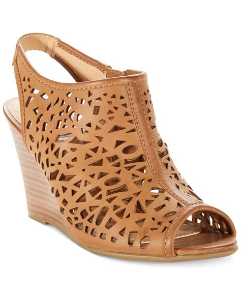 Sandal Wedges Laser Ls04 2 lyst report stellar laser cut wedge sandals in brown