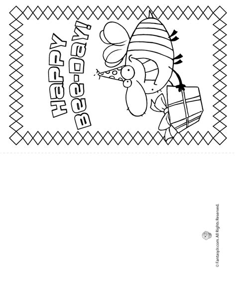 coloring pages of happy birthday cards happy bee day birthday card coloring page woo jr kids