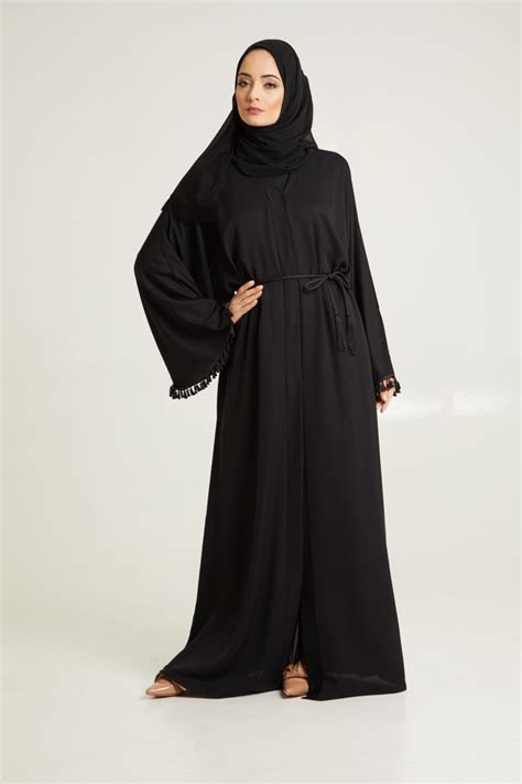 Abaya Batwing tassel batwing open jacket abaya