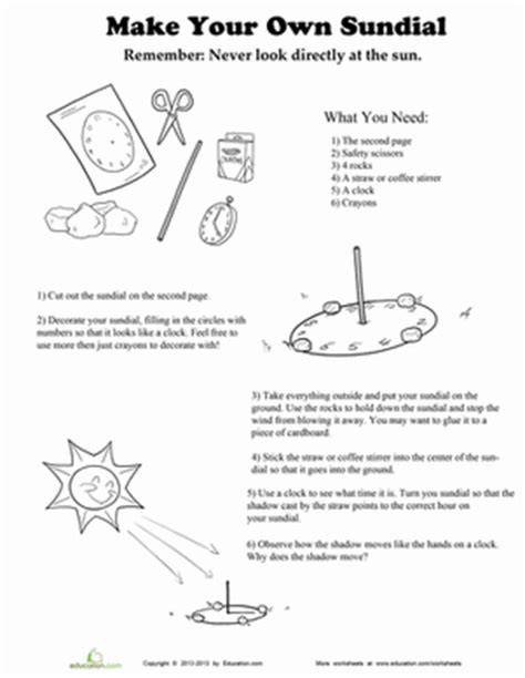 How To Make A Sundial Out Of Paper - make your own sundial worksheet education