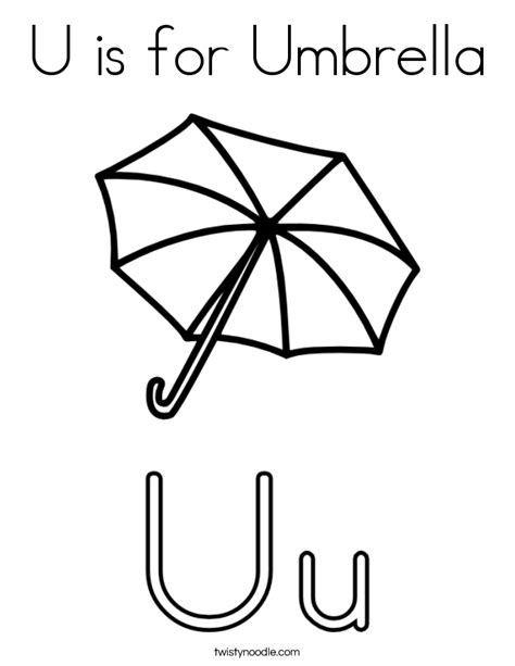 u is for umbrella coloring page twisty noodle