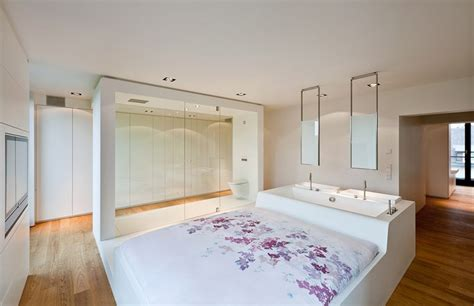 sink in bedroom this apartment bedroom has a bed attached to a bathtub and