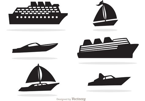 cartoon boat vector free ship and boat black icons vector download free vector