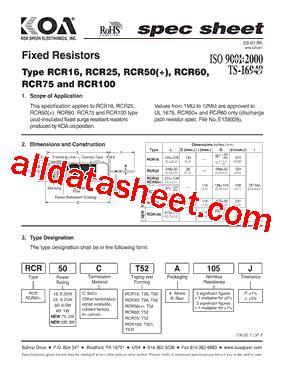 rcr resistors datasheet rcr75c datasheet pdf koa speer electronics inc