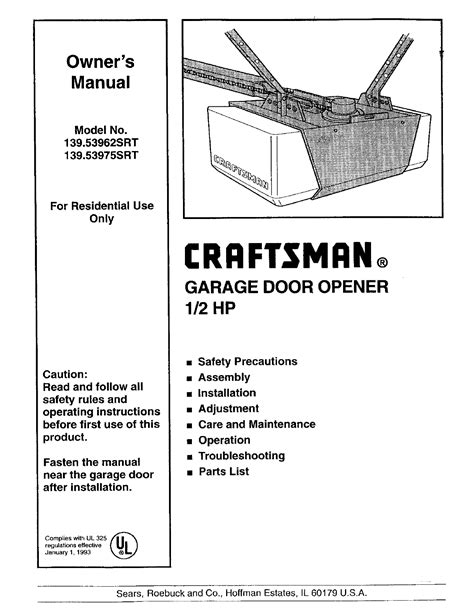 How To Wire Craftsman Garage Door Opener by Craftsman Garage Door Opener 139 53962 Srt User Guide