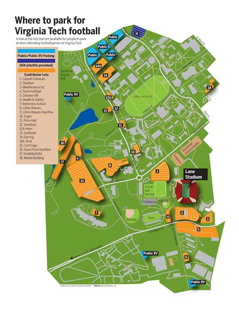 virginia tech cus map parking map site newsadvance