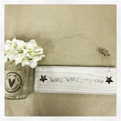 shabby chic small rustic wooden sign twinkle twinkle little star