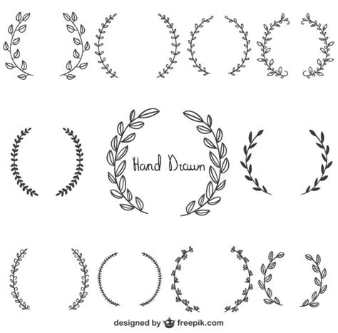 free graphics hand drawn laurel wreaths merci