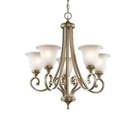 hardwired chandelier shop kichler 27 5 in 5 light sterling gold vintage hardwired etched glass shaded
