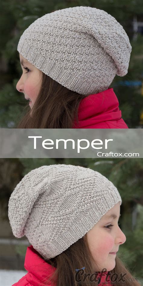 beanie knitting pattern for beginners child s slouchy beanie hat quot temper quot free knitting