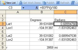 format excel latitude longitude how to calculate distance and bearing to a latitude