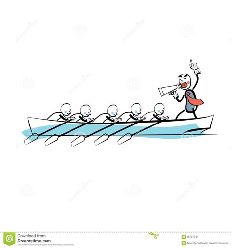 boatswain rowing leader teamwork business concept boat rowers stock vector