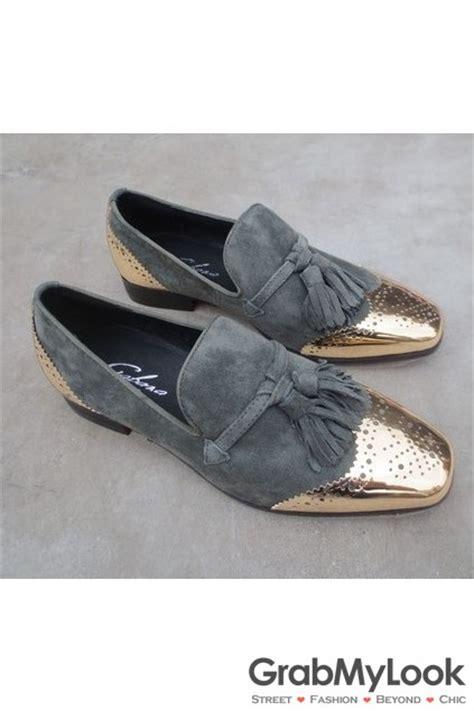 mens oxford loafers grey metal cap suede leather mens blunt tassels mens