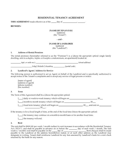 1 Year Lease Agreement Bc - columbia residential lease tenancy agreement