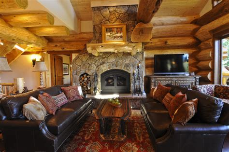 creek cabin rustic living room denver by