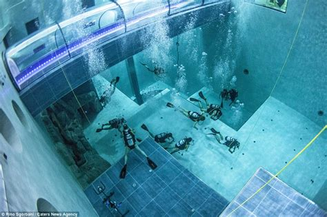 outside pool inside world s deepest thermal water pool daily mail