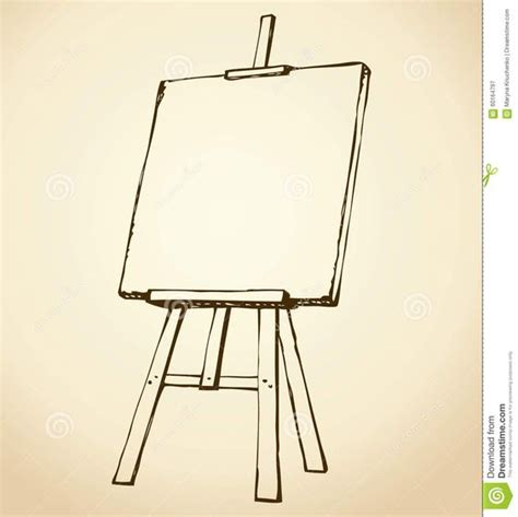 Drawing Easel by Easel Vector Sketch Wooden Blank Canvas White Backdrop