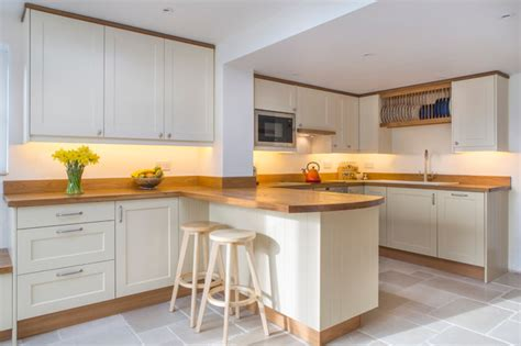 simple kitchens full stave oak worktops on hand painted cabinets long