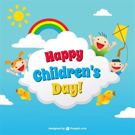 s day children s day card in colorful style vector free