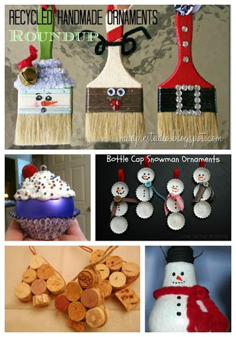 roundup of handmade christmas ornaments from recycled
