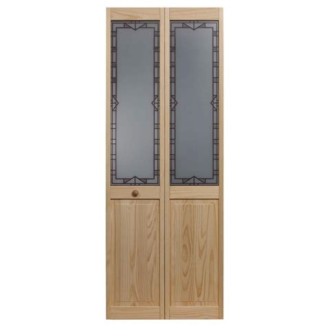 32 Bifold Closet Doors Pinecroft 32 In X 80 In Classic 10 Lite Opaque Glass Wood Interior Bi Fold Door 872628
