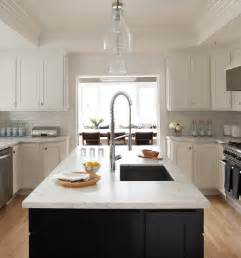 White Kitchen Black Island Black Kitchen Island White Marble Countertop Design Ideas