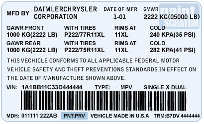 2005 dodge caravan paint code location 2005 free engine image for user manual