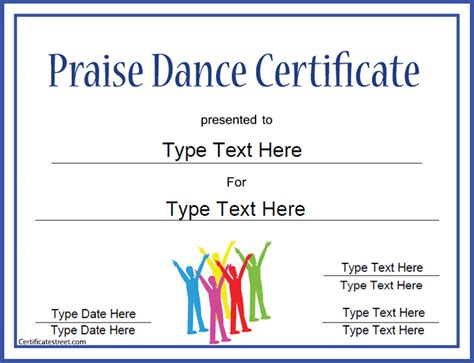 templates for dance certificates praise dance certificate