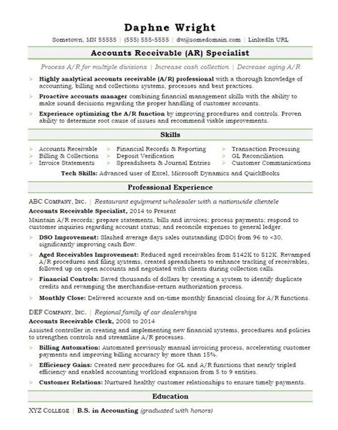accounts receivable resume objective ar resume sle resume ideas