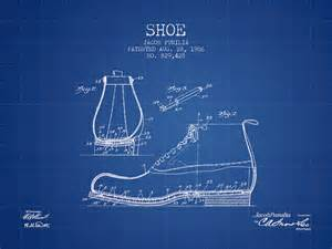 Shoes Shower Curtain Shoe Patent From 1906 Blueprint Drawing By Aged Pixel
