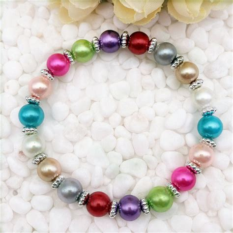 cheap bead bracelets diy wholesale fashion jewelry 8mm pearl stretch mix