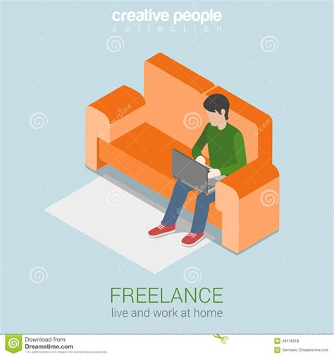 freelance design working from home freelance work at home flat 3d web isometric concept stock illustration image 49118318
